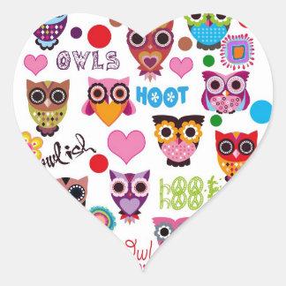 Retro Owls Heart Stickers