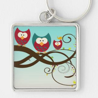 Retro Owls Swirly Branch Keychain
