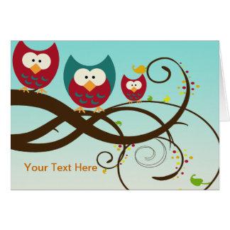 Retro Owls Swirly Branch Notecards Greeting Card