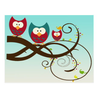 Retro Owls Swirly Branch Postcard