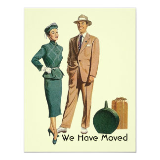 """Retro packed up We have Moved Move Announcement 4.25"""" X 5.5"""" Invitation Card"""