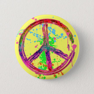 RETRO PAINT SPLATTER PEACE SIGN BUTTON