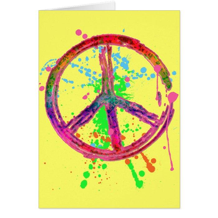 RETRO PAINT SPLATTER PEACE SIGN CARD