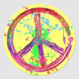 RETRO PAINT SPLATTER PEACE SIGN CLASSIC ROUND STICKER