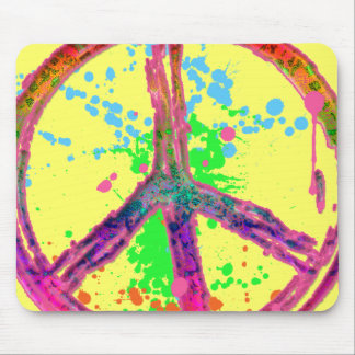 RETRO PAINT SPLATTER PEACE SIGN MOUSE PAD