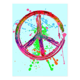 RETRO PAINT SPLATTER PEACE SIGN POST CARDS