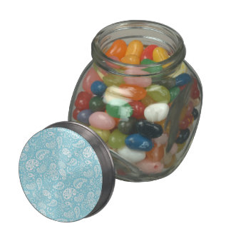Retro Paisley in Teal Blue Glass Candy Jars