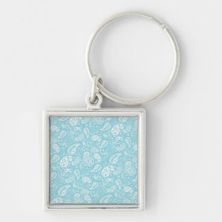 Retro Paisley in Teal Blue Keychain