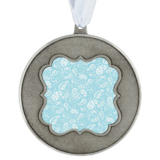 Retro Paisley in Teal Blue Ornament