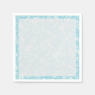 Retro Paisley in Teal Blue Paper Napkin