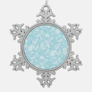 Retro Paisley in Teal Blue Snowflake Pewter Christmas Ornament