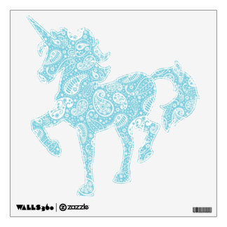 Retro Paisley in Teal Blue Wall Decal