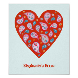 Retro Paisley Pop Heart Personalised Poster