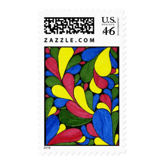 Retro Paisley Rainbow Drops Postage Stamp