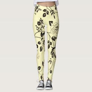 Retro-Pale-Cream_Floral-XS-TO--XL_Leggings_ Leggings