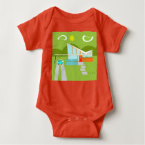 Retro Palm Springs House Baby Bodysuit