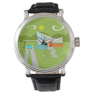 Retro Palm Springs House Black Leather Watch