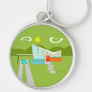 Retro Palm Springs House Keychain