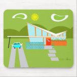 """Retro Palm Springs House Mousepad<br><div class=""""desc"""">This Retro Palm Springs House with Car Mousepad is a mid century modern lover's dream. The minimalist art design features a sleek orange and glass house with a dramatically sloping checkmark shape roof. The red door offsets the orange stone planter filled with greenery and the decorative turquoise cinderblock privacy screen....</div>"""