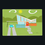 """Retro Palm Springs House Placemat<br><div class=""""desc"""">This personalized Retro Palm Springs House with Car Placemat is a mid century modern lover's dream. The minimalist art design features a sleek orange and glass house with a dramatically sloping checkmark shape roof. The red door offsets the orange stone planter filled with greenery and the decorative turquoise cinderblock privacy...</div>"""
