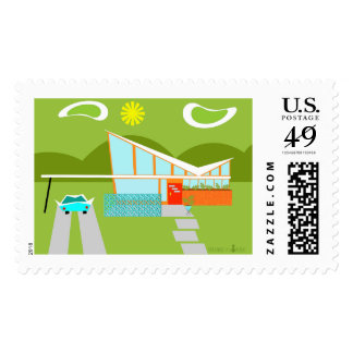 Retro Palm Springs House Postage Stamps