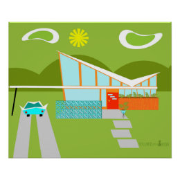 Retro Palm Springs House Poster