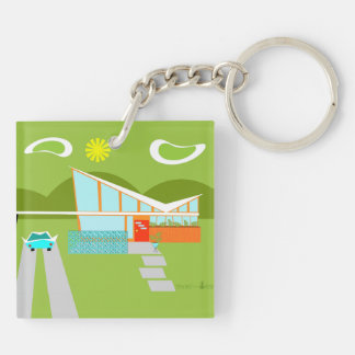 Retro Palm Springs House Square Keychain