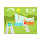 Retro Palm Springs House Wrapped Canvas
