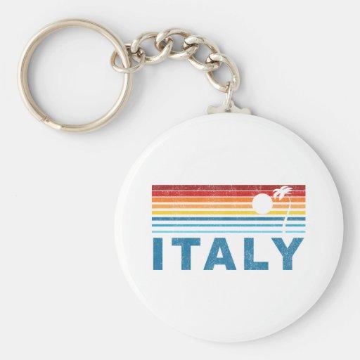 Retro Palm Tree Italy Basic Round Button Keychain
