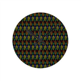 Retro Paper Clip Pattern Round Clock