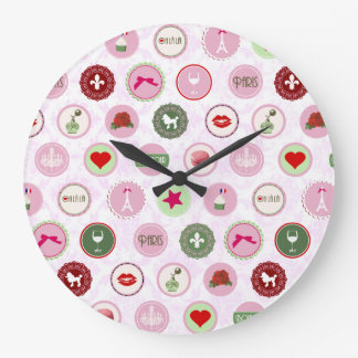 Retro Paris Pink Shabby Chic pattern Large Clock
