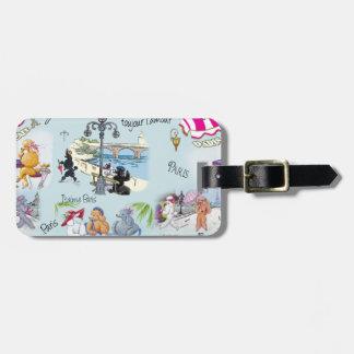 Retro Paris Poodle Collage Bag Tags