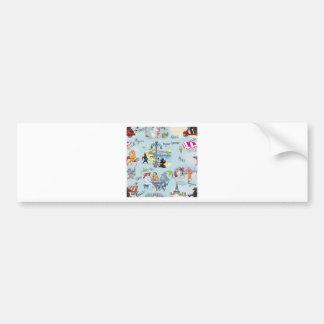Retro Paris Poodle Collage Bumper Sticker