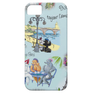 Retro Paris Poodle Collage iPhone 5 Cases
