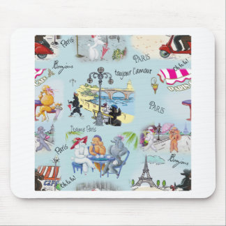 Retro Paris Poodle Collage Mouse Pad