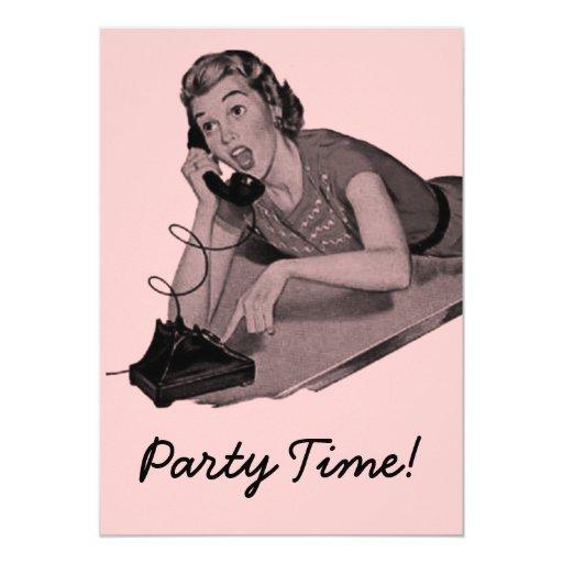 Retro Party 5x7 Paper Invitation Card
