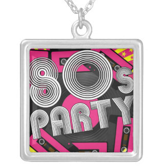 Retro Party Background Square Pendant Necklace