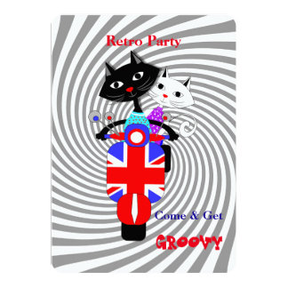 Retro Party Cats On Union Jack Retro Scooter Card