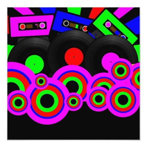 Retro Party Design 5.25x5.25 Square Paper Invitation Card