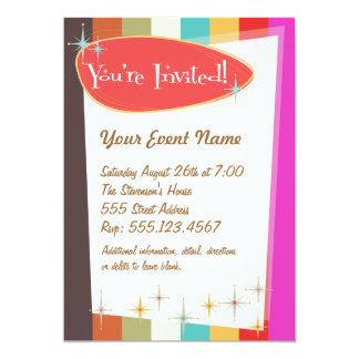 """Retro Party Invitation 5"""" X 7"""" Invitation Card"""