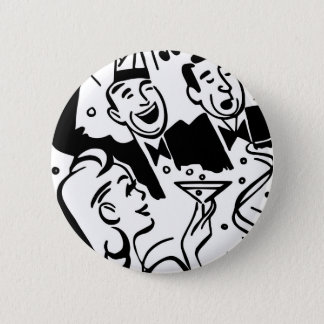 Retro Party People Celebrating a Special Occasion Button