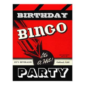 Retro Party Red Black White Bingo Invitations