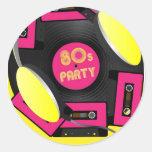 Retro Party Round Stickers