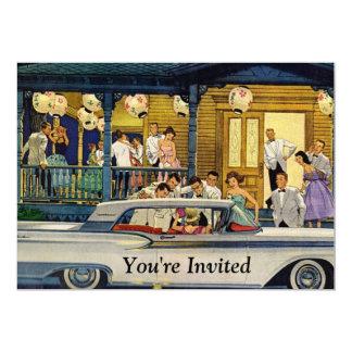 Retro Party Time 5x7 Paper Invitation Card