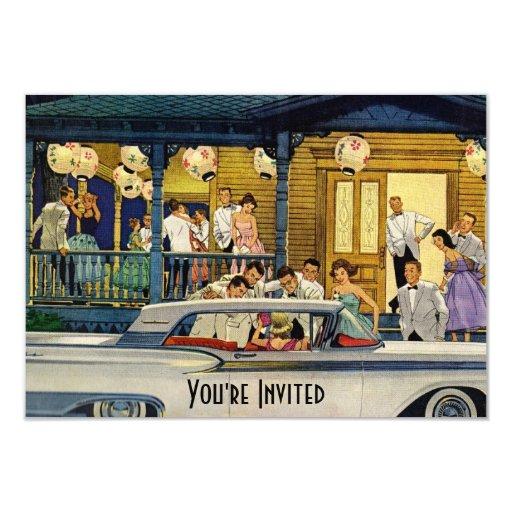 Retro Party Time V2 3.5x5 Paper Invitation Card
