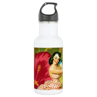 Retro Passion flower tropical girl hawaii Stainless Steel Water Bottle