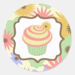 Retro Pastel Cupcake Birthday Sticker