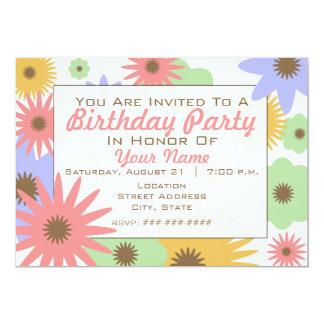 Retro Pastel Flowers Birthday Party Invitation