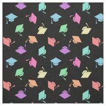 Retro Pastel Graduation Cap Pattern Fabric