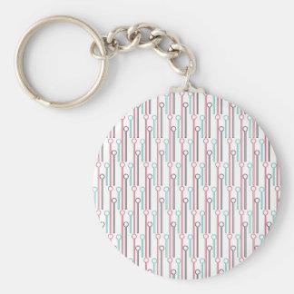 Retro Pastel Pattern Swizzle Sticks Basic Round Button Keychain